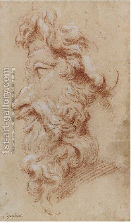 Study of the profile of a bearded God by Giovanni Battista Cipriani - Reproduction Oil Painting