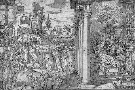 The death and burial of Saint Dionysus by Giovanni Battista della Rovere - Reproduction Oil Painting