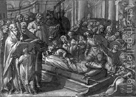 The funeral mass of Saint Dionysus by Giovanni Battista della Rovere - Reproduction Oil Painting