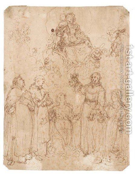 The Madonna and Child appearing to five saints by Giovanni Battista della Rovere - Reproduction Oil Painting