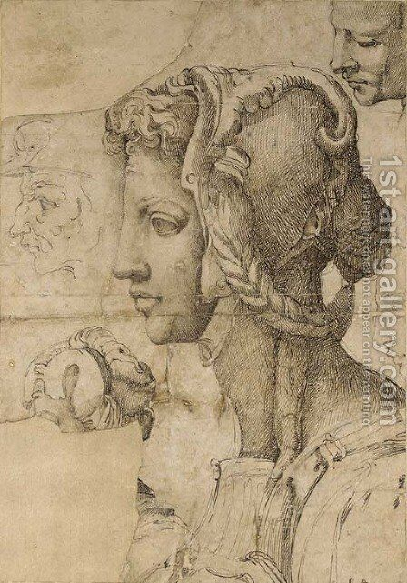 An ideal female head in profile to the left, after Michelangelo, with other head studies by Battista Franco - Reproduction Oil Painting