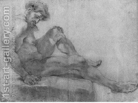 A Nude seated on a Rock by Giovanni Battista (Baciccio) Gaulli - Reproduction Oil Painting