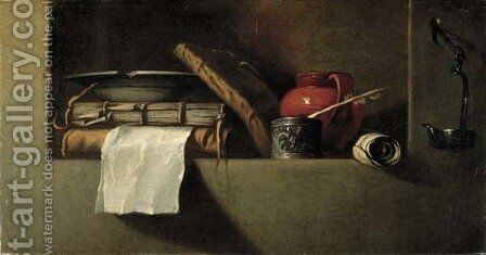 Books, a plate, an earthenware pitcher, an ink well and quill in a niche with an oil lamp on the wall nearby by Giovanni Battista Langetti - Reproduction Oil Painting