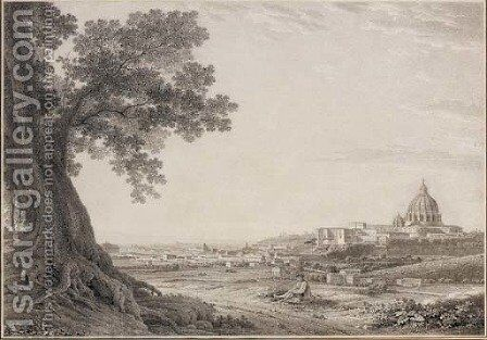 An extensive view of Rome from the Orti della Pineta Sacchetti by Giovanni Battista Lusieri - Reproduction Oil Painting