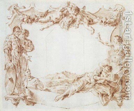 Design for a cartouche with putti holding a trophy above two soldiers spying on two reclining women, a landscape beyond by Giovanni Battista Piazzetta - Reproduction Oil Painting