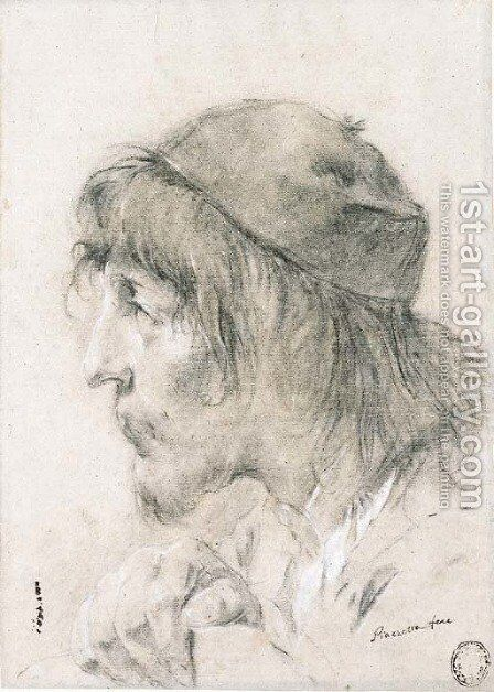 The head of a bearded man wearing a cap, in profile to the left by Giovanni Battista Piazzetta - Reproduction Oil Painting