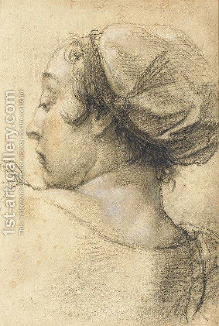 The head of woman turned to the left by Giovanni Battista Piazzetta - Reproduction Oil Painting