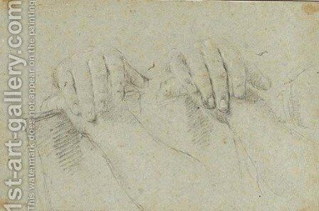 Two studies of hands resting on a board by Giovanni Battista Piazzetta - Reproduction Oil Painting