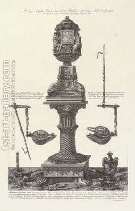 A Collection of Urns and others from Vasi, Candelabri, Cippi, Sarcofagi, Tripodi, Lucerne by Giovanni Battista Piranesi - Reproduction Oil Painting