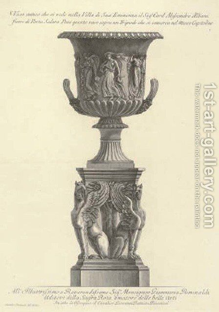 A Collection of Vases, Urns and Tripods from Vasi, Candelabri, Cippi, Sarcofagi, Tripodi, Lucerne by Giovanni Battista Piranesi - Reproduction Oil Painting