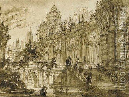 An architectural fantasy the entrance to a palace with a monumental staircase by a fountain by Giovanni Battista Piranesi - Reproduction Oil Painting