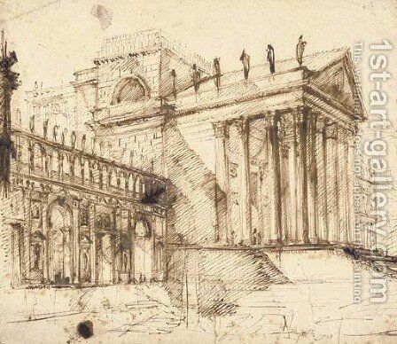 The portico and facade of an elaborate neo-classical building by Giovanni Battista Piranesi - Reproduction Oil Painting