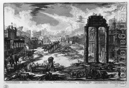 Veduta di Campo Vaccino by Giovanni Battista Piranesi - Reproduction Oil Painting