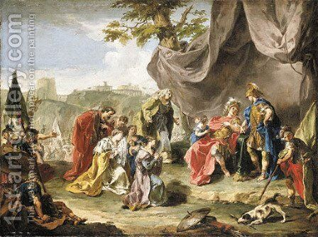 The Family of Darius before Alexander by Giovanni Battista Pittoni the younger - Reproduction Oil Painting
