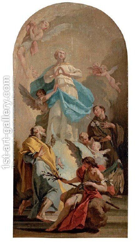The Immaculate Conception with Saints Joseph and Anthony, in a painted arched top by Giovanni Battista Pittoni the younger - Reproduction Oil Painting
