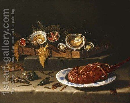 Shellfish in a basket, a lobster in a bowl and shells, a crayfish and a crab on a stone ledge by Giuseppe Recco - Reproduction Oil Painting
