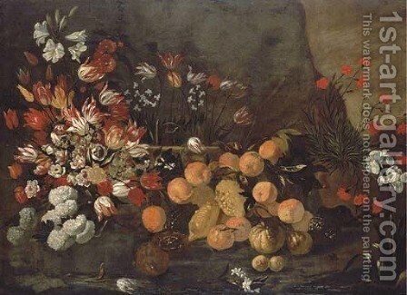 Oranges and lemons with tulips, chrysanthemums, lilies, peonies and other flowers in a vase, in a landscape with carnations and an orchid by Giovanni Battista Ruoppolo - Reproduction Oil Painting