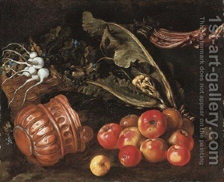 Turnips in a basket with cauliflower, cardoon, apples and a copper pot on a ledge by Giovanni Battista Ruoppolo - Reproduction Oil Painting