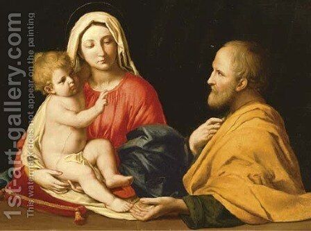 The Holy Family 2 by Giovanni Battista Salvi, Il Sassoferrato - Reproduction Oil Painting