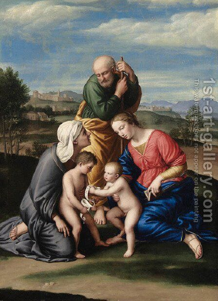 The Holy Family with the Infant Saint John the Baptist and Saint Elizabeth by Giovanni Battista Salvi, Il Sassoferrato - Reproduction Oil Painting