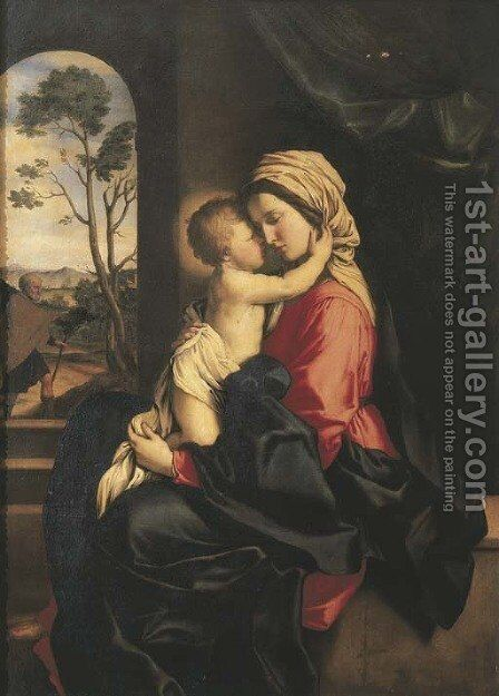 The Madonna and the Christ Child embracing in an interior by Giovanni Battista Salvi, Il Sassoferrato - Reproduction Oil Painting