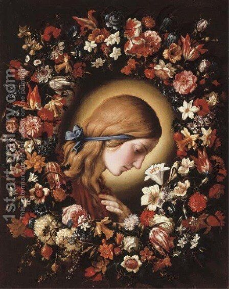 The Virgin Annunciate surrounded by a garland of flowers by Giovanni Battista Salvi, Il Sassoferrato - Reproduction Oil Painting