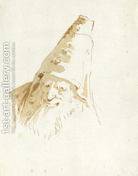A bearded man wearing a conical hat by Giovanni Battista Tiepolo - Reproduction Oil Painting