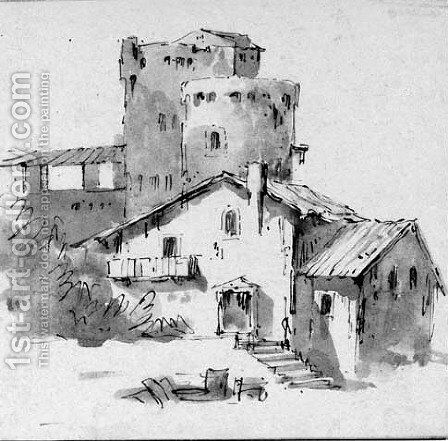 A fortified farmhouse by Giovanni Battista Tiepolo - Reproduction Oil Painting