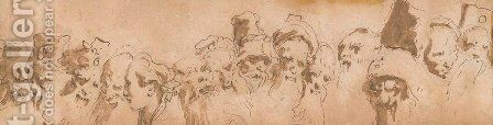 A frieze of heads by Giovanni Battista Tiepolo - Reproduction Oil Painting