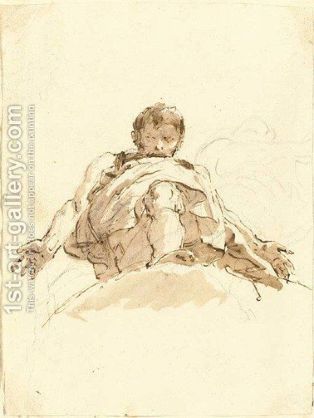 A man on a cloud seen da sotto in su by Giovanni Battista Tiepolo - Reproduction Oil Painting