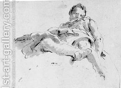 A seated figure on a cloud, seen de sotto in su by Giovanni Battista Tiepolo - Reproduction Oil Painting