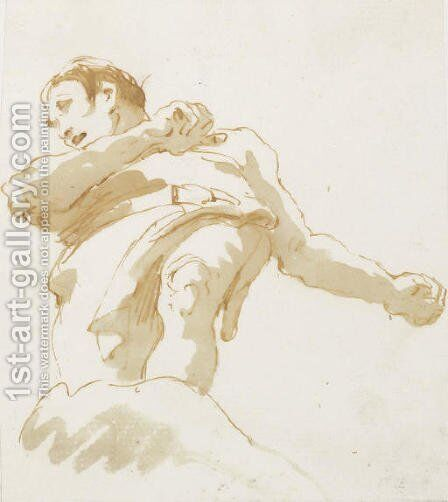 A standing man seen from below by Giovanni Battista Tiepolo - Reproduction Oil Painting