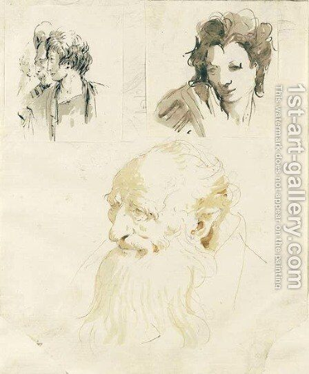 A study of the head of an old man by Giovanni Battista Tiepolo - Reproduction Oil Painting