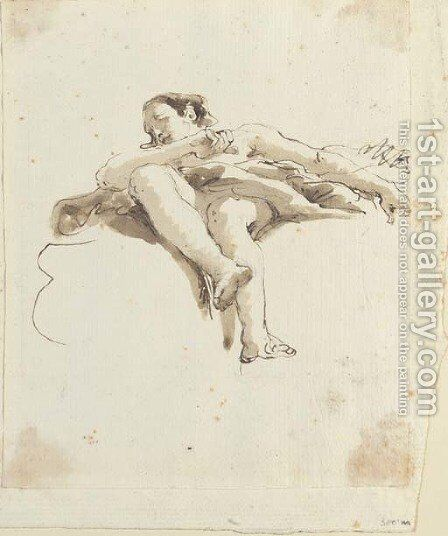 An angel seated on a cloud seen di sotto in su by Giovanni Battista Tiepolo - Reproduction Oil Painting