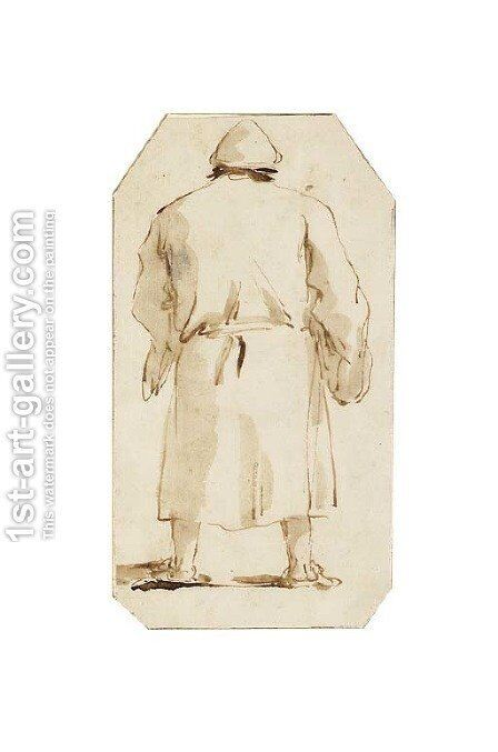Caricature of a man, seen from behind by Giovanni Battista Tiepolo - Reproduction Oil Painting