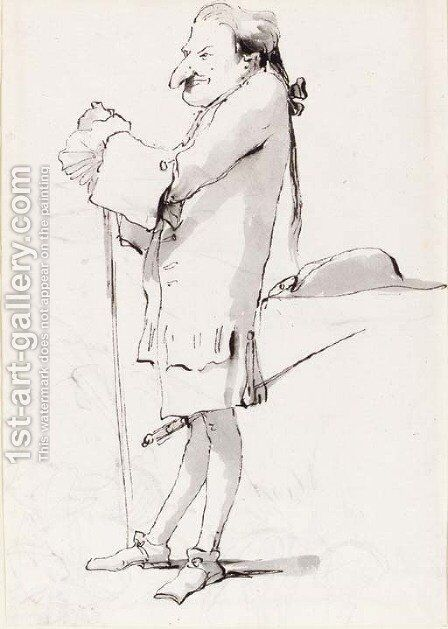 Caricature of a standing cavalier leaning on a staff by Giovanni Battista Tiepolo - Reproduction Oil Painting