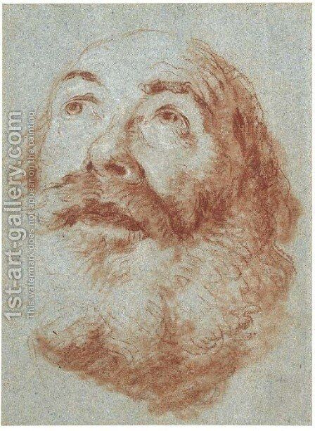 Head of an old man looking up by Giovanni Battista Tiepolo - Reproduction Oil Painting