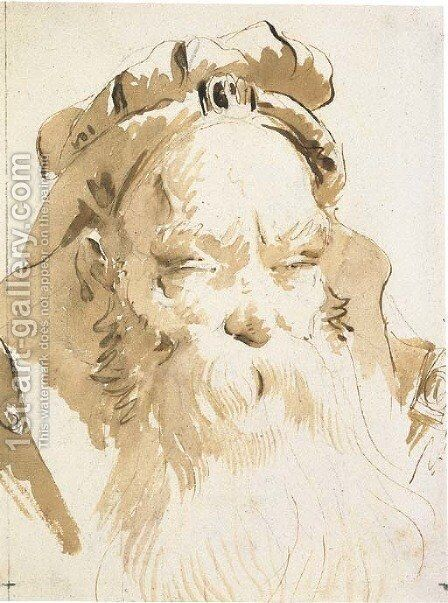 Head of an oriental with a long beard by Giovanni Battista Tiepolo - Reproduction Oil Painting