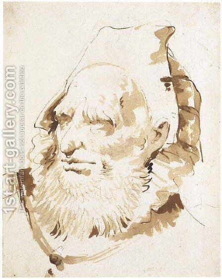 Head of an oriental with a short beard by Giovanni Battista Tiepolo - Reproduction Oil Painting