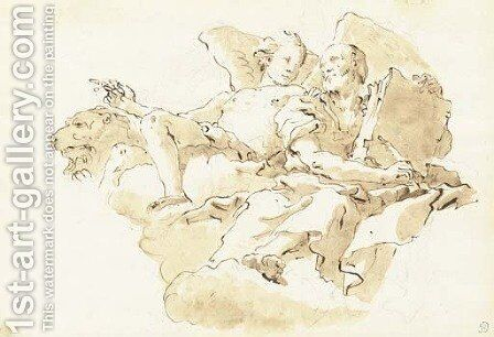 Saint Mark with an angel and the Lion by Giovanni Battista Tiepolo - Reproduction Oil Painting