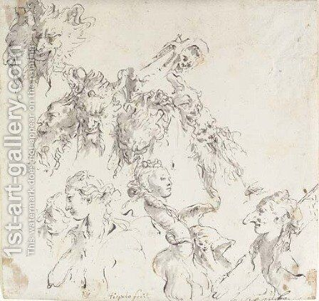 The heads of satyrs, women and other studies by Giovanni Battista Tiepolo - Reproduction Oil Painting
