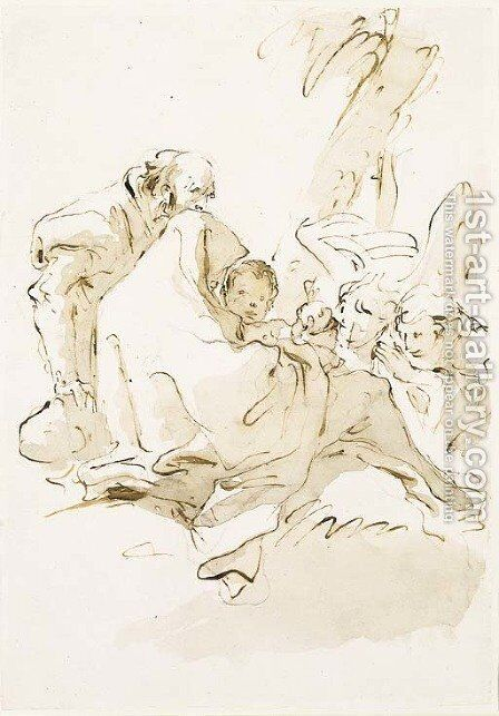 The Holy Family resting with two angels kneeling and offering food by Giovanni Battista Tiepolo - Reproduction Oil Painting