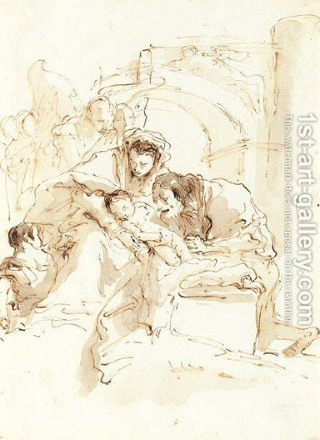 The Holy Family with angels before an arch by Giovanni Battista Tiepolo - Reproduction Oil Painting