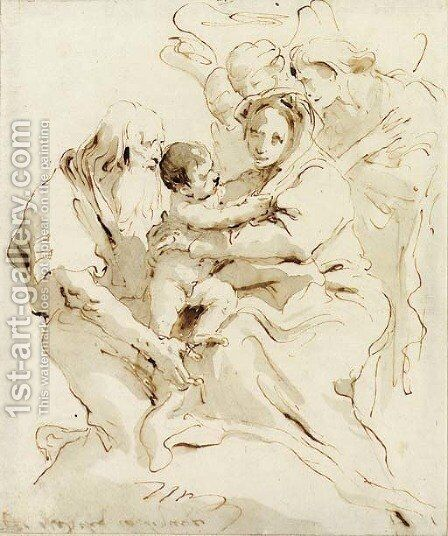 The Holy Family with three angels by Giovanni Battista Tiepolo - Reproduction Oil Painting