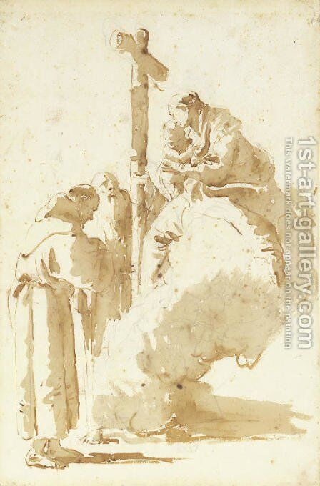 The Madonna and Child adored by Saint Anthony and an abbot by Giovanni Battista Tiepolo - Reproduction Oil Painting