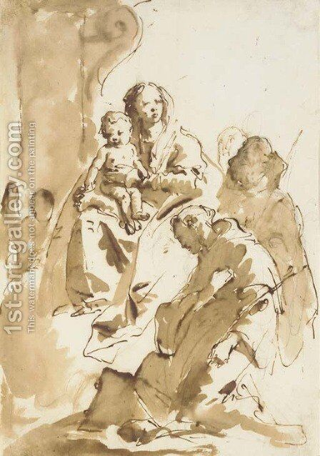 The Madonna and Child with Saint Anthony of Padua kneeling and two other Saints, an angel by a column in the background by Giovanni Battista Tiepolo - Reproduction Oil Painting