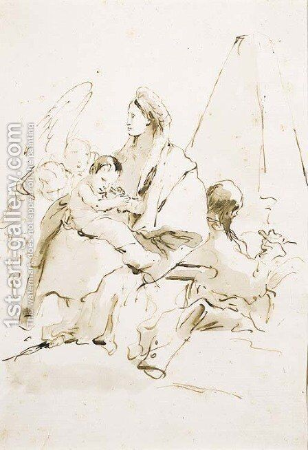 The Rest on the Flight into Egypt, with angels and a pyramid by Giovanni Battista Tiepolo - Reproduction Oil Painting