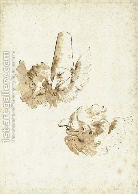 Three Punchinelli as winged cherubs by Giovanni Battista Tiepolo - Reproduction Oil Painting