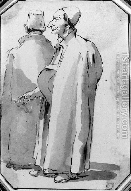 Two priests, one in profile to the left and another seen from behind by Giovanni Battista Tiepolo - Reproduction Oil Painting
