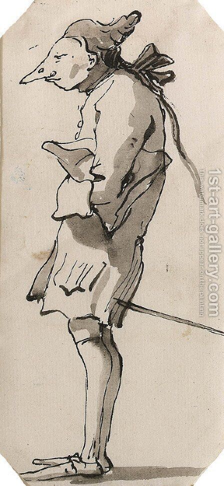 Caricature of a Gentleman in profile to the left holding a Tricorn by Giovanni Battista Tiepolo - Reproduction Oil Painting